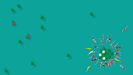 Carp and turtle swimming in lotus pond Ilustrace
