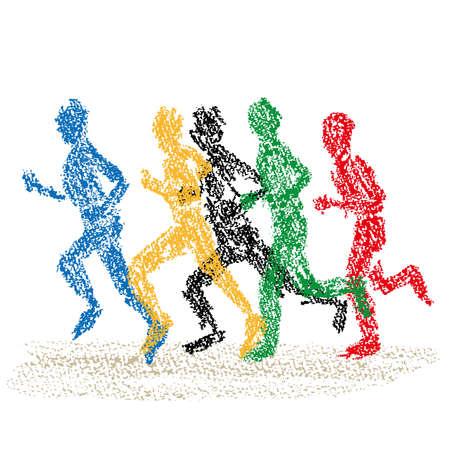 Illustration of marathon players drawn with crayons 向量圖像