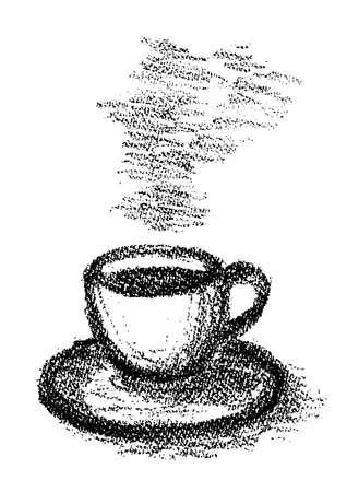 Illustration of coffee drawn with crayons  イラスト・ベクター素材