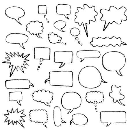 Speech balloon drawn with crayon Ilustração