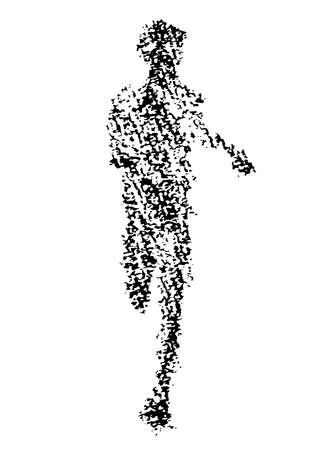 Illustration of marathon player drawn with crayons