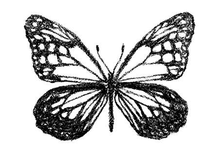 Illustration of a butterfly drawn with crayons