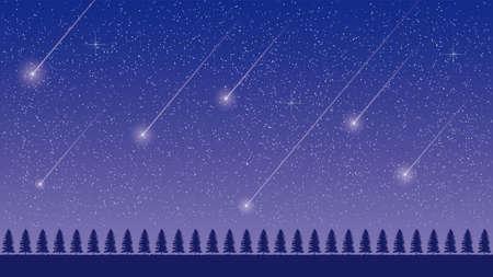 Cielo estrellado y meteorito Ilustración de vector