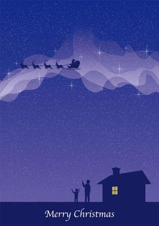 Santa Claus Passing the Milky Way postcard template