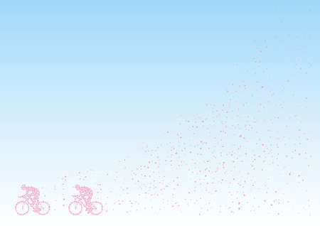 Bicycle Race drew with cherry blossom petals