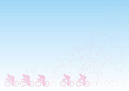 Bicycle Race drew with cherry blossom petals  イラスト・ベクター素材