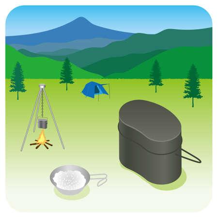 Illustration of camping