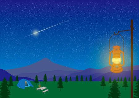 Campamento de noche estrellada