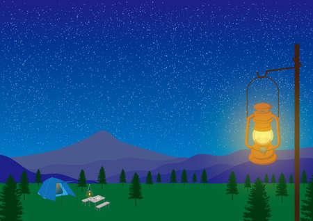 Starry night camp Stock Illustratie