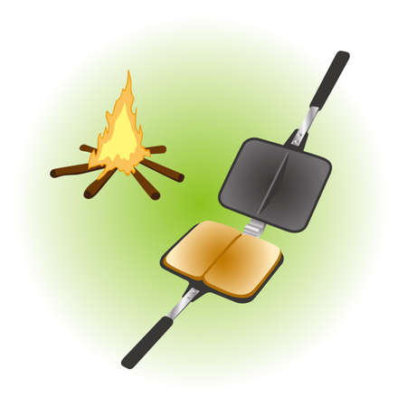 Bonfire and camping food  イラスト・ベクター素材
