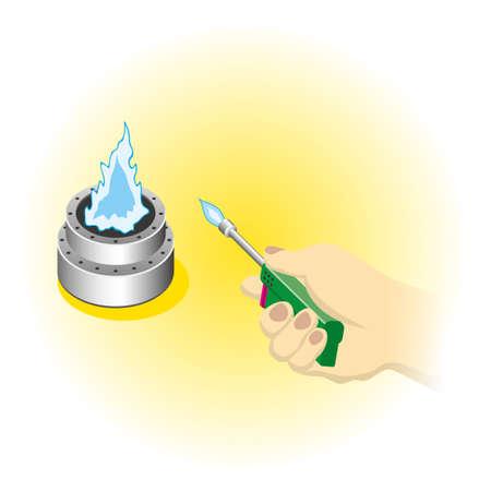 Ignition of the camping stove Ilustração