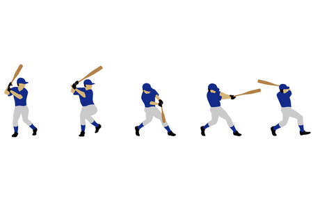 Motion illustration of the swing of the baseball  イラスト・ベクター素材