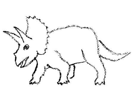 Crayon drawing of a dinosaur Ilustração