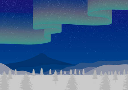 Snow scene and fluttering aurora in the night sky Иллюстрация