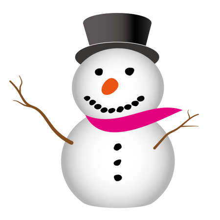 Illustration of a snowman created with vector data 일러스트