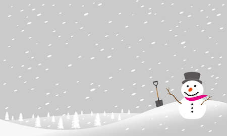 A snowman in a snowstorm is drawn in vector illustration  イラスト・ベクター素材