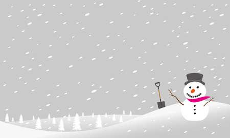 A snowman in a snowstorm is drawn in vector illustration Illusztráció