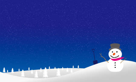 Snowman on the hill is drawn in vector illustration Illusztráció