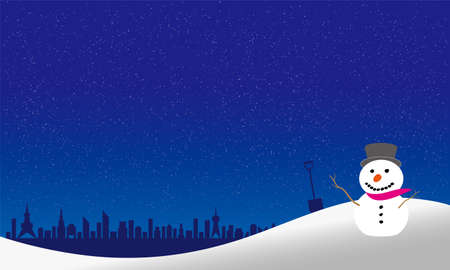Snowman overlooking downtown from the hill (drawn in vector illustration)