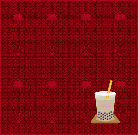 Pearl milk tea and Chinese background (Created with EPS data)  イラスト・ベクター素材
