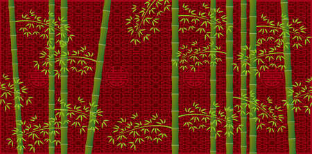 Bamboo forest and Chinese lattice pattern (Created with EPS data)