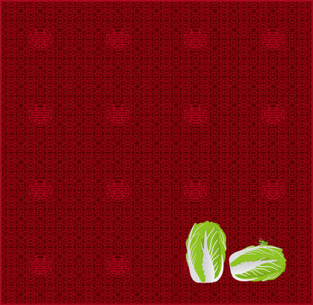 Chinese cabbage and grasshopper (Created with EPS data)  イラスト・ベクター素材