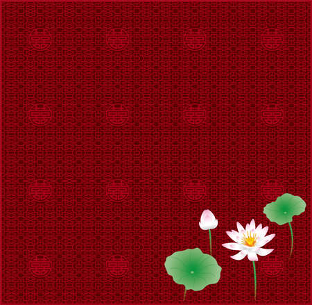 Lotus flower and Chinese lattice pattern (Created with EPS data)