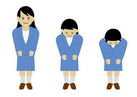 Courteous Japanese Business Woman (Created with Vector Data) Ilustração