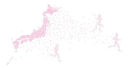 Japan Map with Runners Made of Cherry Petals (Created with Vector Data) Ilustração