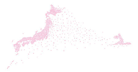 Japan Map with Swimmer Made of Cherry Petals (Created with Vector Data)