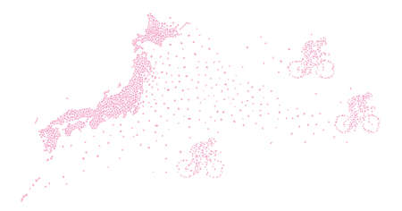 Japan Map with Cycle Racer Made of Cherry Petals (Created with Vector Data) Ilustração