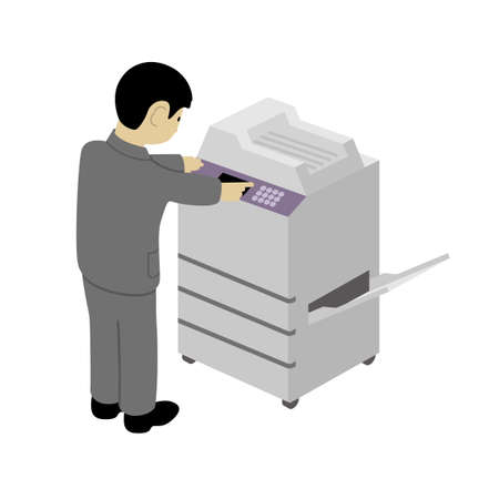 Businessman operating a copy machine (Created with vector data)
