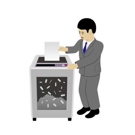 Businessman operating a shredder (Created with vector data)
