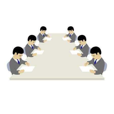 Analog Meeting Using Paper (Created with Vector Data)