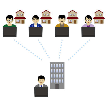 Remote worker doing video conference (Created with vector data)