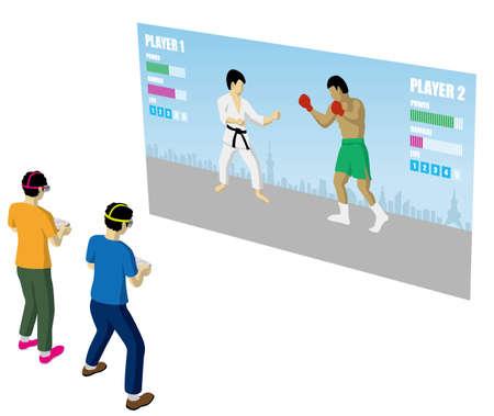 Dos personas jugando en un juego de realidad virtual (creado con datos EPS)