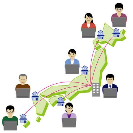 Imagination illustration of remote worker (Created with vector data) Illusztráció