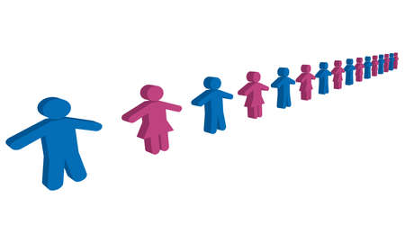 Illustration of social distancing (Created with vector data) Archivio Fotografico - 144321600