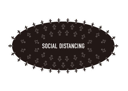 Illustration of social distancing (Created with vector data) Archivio Fotografico - 144650431