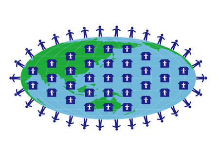 Illustration of social distancing (Created with vector data) Vettoriali