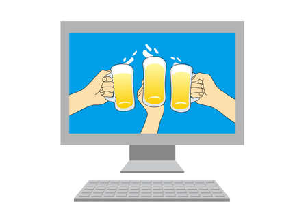 Online party (Created with vector data)