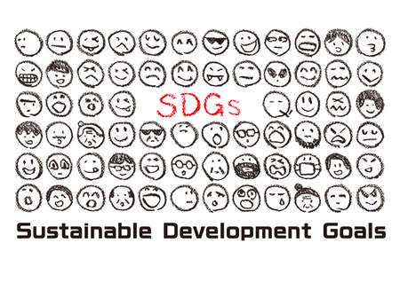 Characters of SDGs drawn with crayons and people's faces