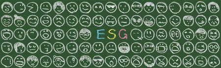 ESG letters and faces doodle drawn on the blackboard (Created with vector data)