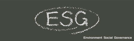 ESG letters drawn on the blackboard (Created with vector data) Foto de archivo - 148847696