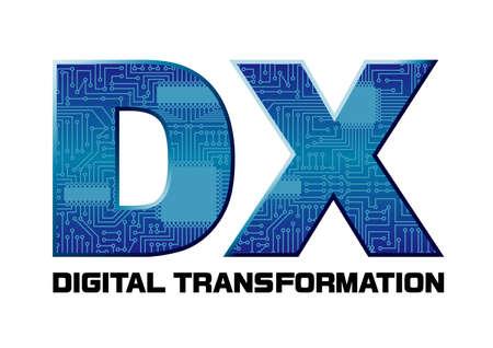 Imaginäre Illustration der digitalen Transformation (erstellt mit Vektordaten) Vektorgrafik