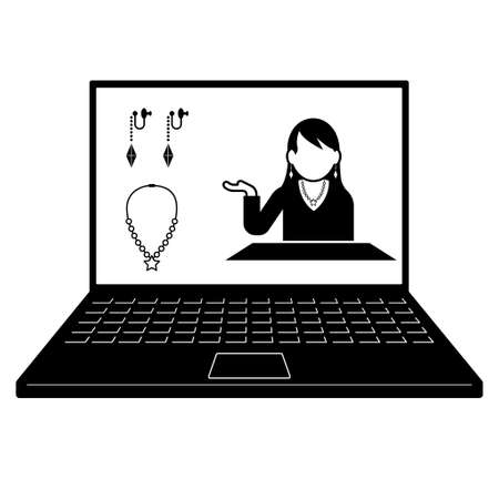 A woman who reviews and sells products using the network. Image of live commerce. Created with vector data Vectores