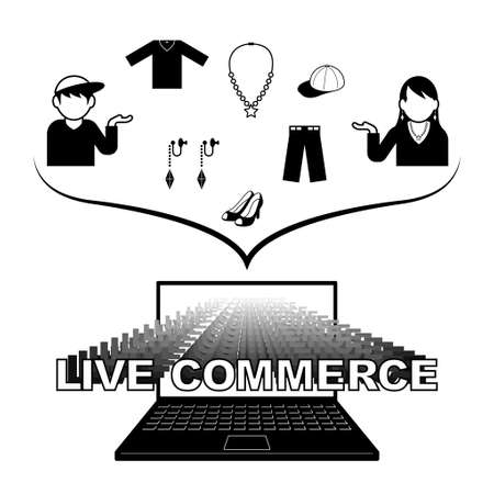 Image illustration of live commerce that introduces and sells what you are wearing. Created with vector data