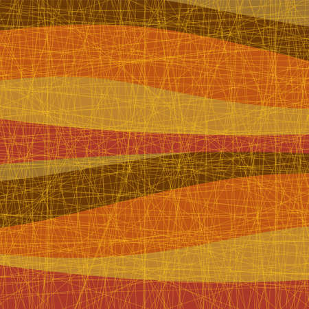 Abstract autumn image. Retro impression with orange, red, yellow and other wave patterns and old film scratches. Created with vector data. Great for autumn postcards and banner backgrounds. Vectores