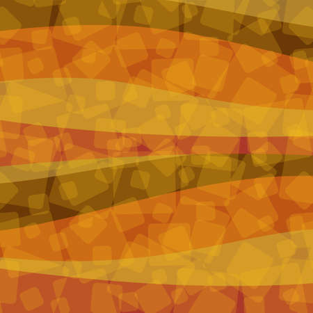 Abstract autumn image. The wave pattern of orange, red, yellow, etc. and the randomly arranged blocks give a retro impression. Created with vector data. Great for autumn postcards and banner background Vectores