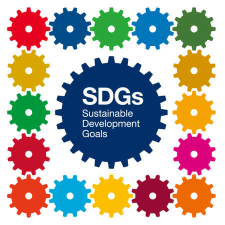 A combination of meshing gears and SDGs symbol colors. Image illustration of Sustainable Development Goals. Created with vector data. Vectores